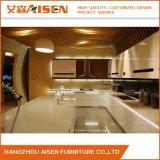 Module de cuisine à haute brillance automatique de luxe blanc de laque pour la villa