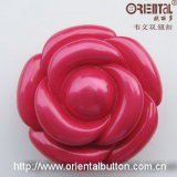 Modo Resin Button in Flower Shape Color Rosa Red (H-1849)