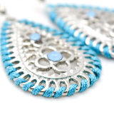 Scavare fuori gli orecchini di goccia dell'acqua con il Rhinestone ciondolano Earings in argento
