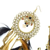 Déclaration de métal de plumes Tassel pendants Earrings acrylique Rhinestone Gold-Color Round Drop Earrings