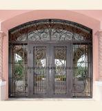 Diseño de encargo decorativo de bronce antiguo de las puertas principales del hierro labrado