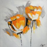 Orange fleur décorative sur la peinture d'huile