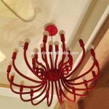 Lampadario a bracci sbocciante rosso decorativo del fiore E14 LED della Rosa del ferro di arte europea moderna del metallo