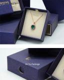 زرقاء خزانة شكل ورق مقوّى ورقة هبة مجوهرات يعبّئ صندوق