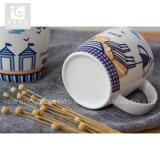 중국 본래 12oz 손 파악 세라믹 우유 컵