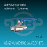 Vávula de bola sanitaria inoxidable del acero (304, 316) con la manija manual para el agua