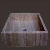 Раковина ванной комнаты Emperador европейского камня тазика мытья пола типа стоящего темная мраморный