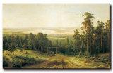 100%main peinture huile sur toile, le matin dans une forêt de pins