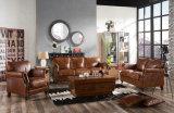 Poltrona di legno casuale del nuovo villaggio americano e sofà dell'interno del cuoio genuino (628)