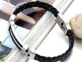 23cm人のBangle&Braceletsの方法人の宝石類の黒のための編みこみのPUの革ブレスレット