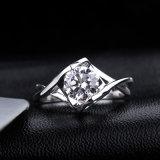Direct In het groot Wit Zirkoon 925 van de fabriek de Echte Zilverachtige Juwelen van de Ring van de Manier