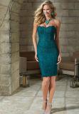 Короткое замыкание голубого цвета кружева платье с куртка матери вечерние платья