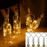 lumières de bouteille de vin de liège de bouton de 2m 20LEDs AG13 avec des lièges, quirlandes électriques d'intérieur à piles de DEL