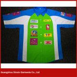 Chemise bon marché personnalisée de travail de chemise de circuit des prix de station-service pour l'été (S63)
