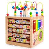 Il labirinto di legno del branello numera i bambini del cubo del gioco delle lettere che imparano i giocattoli