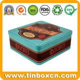 Vintage de metal cuadrado grande galletas tin box para el embalaje de las Cookies