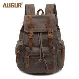 型のキャンバスの革バックパック、レトロのハイキングのDaypacksのコンピュータのラップトップ袋、男女兼用の偶然のリュックサックの学生かばんBookbag