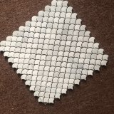 Mosaico di marmo di pietra bianco della parete del pavimento non tappezzato di figura del ventilatore di Bianco Carrara