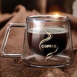 200ml comerciano le tazze all'ingrosso di caffè di vetro di Borosilicate con la maniglia