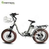 Bicicleta eléctrica plegable blanca del neumático gordo barato de las señoras 20inch