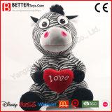 발렌타인 선물 여자 아기를 위한 연약한 장난감 박제 동물 견면 벨벳 얼룩말