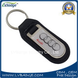 Coche Keychain del cuero genuino con insignia modificada para requisitos particulares