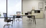 [ل] شكل ميلامين مكتب طاولة مع معدن إطار ساق
