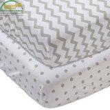 Ultra suave acolchada de bambú blanco Terry equipado estilos de la hoja de protector de colchón de cuna impermeable/cubierta de patrón de color
