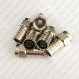 Tipo cable coaxial del maleficio Rg59 F del RF del conector del prensado