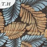 Chenille Sellerie tissu jacquard avec le bleu et Yellew grosses feuilles