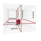 8 خطوط ثلاثة مضادّة دوّارة أحمر ليزر مستوى