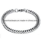 braccialetto Chain tagliato del bordo smussato dell'acciaio inossidabile dell'argento quattro di 22cm