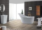 Vasca da bagno indipendente di pietra bianca di Sanitaryware di disegno moderno