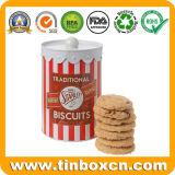 Envase del estaño del metal con la maneta para el almacenaje de las galletas de las galletas del chocolate