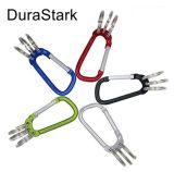 Amo di alluminio di Carabiner di figura di D con tre anelli chiave