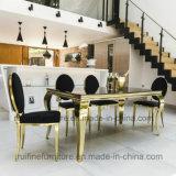 Sillas de cena de cuero blancas ovales de oro modernas al por mayor del banquete de la PU de la parte posterior redonda de Foshan para la boda