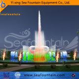 Grand mostrando fuente multicolor de LED de acero inoxidable