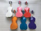 Violín del instrumento musical del verde del final del lustre con el arqueamiento de violín 4/4