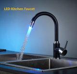 Control de temperatura LED Cambio de color negro de girar el grifo de cocina
