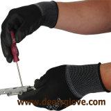 Перчатки безопасности полиэфира черной ладони PU Coated черные