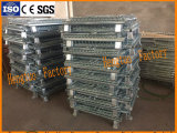 Jaula plegable galvanizada del almacenaje del acoplamiento de alambre de metal de la industria