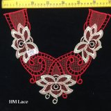 35*30см красного цветка полиэстер кружевной воротник золотой вышивкой у выреза горловины кружева Hme962