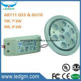 3 ans de garantie de la CE de RoHS G53 GU10 AR111 9W 9*2W 7W 7*2W DEL de lumière de base d'endroit