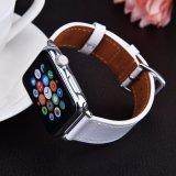 Lazer Negócios unissexo preta faixa de relógio em pele genuína para a vigilância da Apple