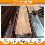 Cor de grãos de madeira Perfil do vidro da porta de alumínio