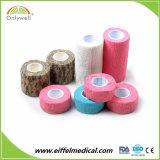 Bandage cohésif élastique de gaze de couleur de la peau de coton