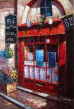 Frente de loja europeu paisagem pintura a óleo sobre tela