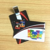 昇進のGifts White Flip Card USB Flash Drives Memory Pendrives Credit Card 4GB 8GB Full Logo Printing