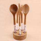 Maniglia di ceramica di promozione che cucina gli utensili di bambù della cucina degli strumenti impostati