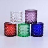 Diamond portavelas de vidrio con tapa